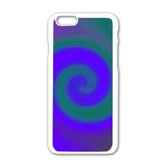 Swirl Green Blue Abstract Apple Iphone 6/6s White Enamel Case
