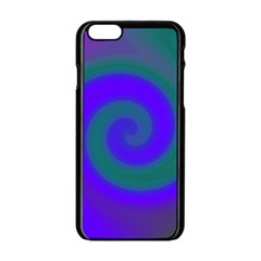 Swirl Green Blue Abstract Apple Iphone 6/6s Black Enamel Case by BrightVibesDesign