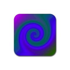 Swirl Green Blue Abstract Rubber Square Coaster (4 Pack)