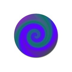 Swirl Green Blue Abstract Magnet 3  (round) by BrightVibesDesign