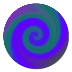Swirl Green Blue Abstract Magnet 5  (round) by BrightVibesDesign