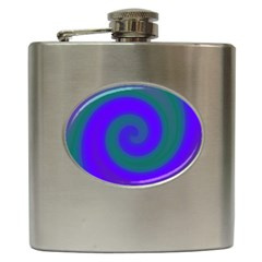 Swirl Green Blue Abstract Hip Flask (6 Oz) by BrightVibesDesign