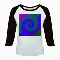 Swirl Green Blue Abstract Kids Baseball Jerseys by BrightVibesDesign