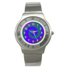 Swirl Green Blue Abstract Stainless Steel Watch