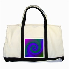 Swirl Green Blue Abstract Two Tone Tote Bag by BrightVibesDesign