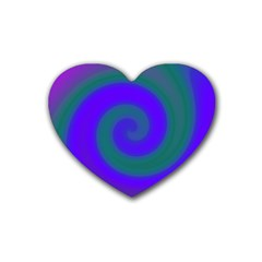 Swirl Green Blue Abstract Rubber Coaster (heart)  by BrightVibesDesign