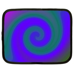 Swirl Green Blue Abstract Netbook Case (large)