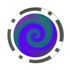 Swirl Green Blue Abstract Poker Chip Card Guard (10 Pack)