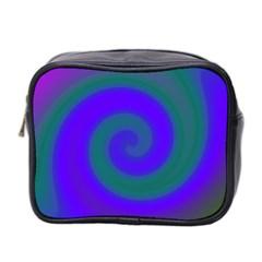 Swirl Green Blue Abstract Mini Toiletries Bag 2 Side