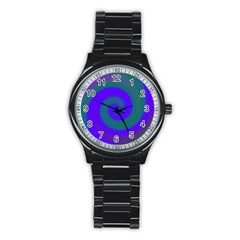 Swirl Green Blue Abstract Stainless Steel Round Watch by BrightVibesDesign