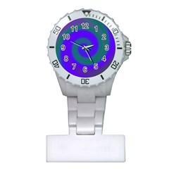 Swirl Green Blue Abstract Plastic Nurses Watch by BrightVibesDesign