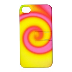 Swirl Yellow Pink Abstract Apple Iphone 4/4s Hardshell Case With Stand by BrightVibesDesign
