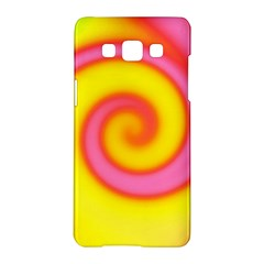Swirl Yellow Pink Abstract Samsung Galaxy A5 Hardshell Case  by BrightVibesDesign