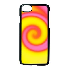 Swirl Yellow Pink Abstract Apple Iphone 7 Seamless Case (black) by BrightVibesDesign