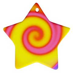 Swirl Yellow Pink Abstract Ornament (star)