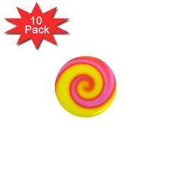 Swirl Yellow Pink Abstract 1  Mini Magnet (10 Pack)  by BrightVibesDesign