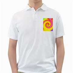 Swirl Yellow Pink Abstract Golf Shirts