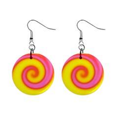 Swirl Yellow Pink Abstract Mini Button Earrings