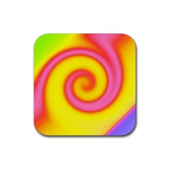 Swirl Yellow Pink Abstract Rubber Coaster (square)  by BrightVibesDesign