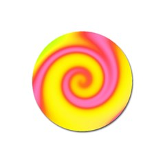 Swirl Yellow Pink Abstract Magnet 3  (round) by BrightVibesDesign