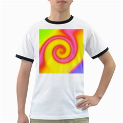 Swirl Yellow Pink Abstract Ringer T Shirts