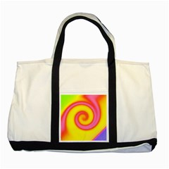 Swirl Yellow Pink Abstract Two Tone Tote Bag by BrightVibesDesign