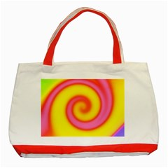 Swirl Yellow Pink Abstract Classic Tote Bag (red)