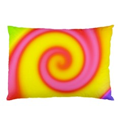 Swirl Yellow Pink Abstract Pillow Case by BrightVibesDesign