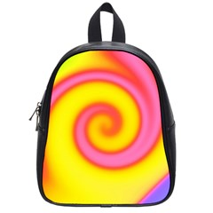 Swirl Yellow Pink Abstract School Bag (small) by BrightVibesDesign