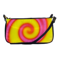 Swirl Yellow Pink Abstract Shoulder Clutch Bags by BrightVibesDesign
