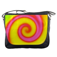 Swirl Yellow Pink Abstract Messenger Bags by BrightVibesDesign