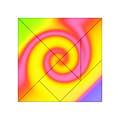 Swirl Yellow Pink Abstract Acrylic Tangram Puzzle (4  X 4 )