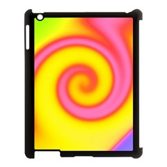 Swirl Yellow Pink Abstract Apple Ipad 3/4 Case (black) by BrightVibesDesign