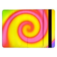 Swirl Yellow Pink Abstract Samsung Galaxy Tab Pro 12 2  Flip Case by BrightVibesDesign