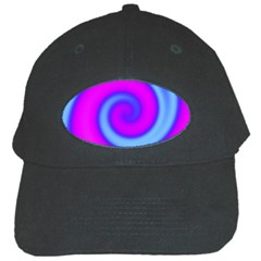 Swirl Pink Turquoise Abstract Black Cap
