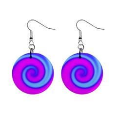 Swirl Pink Turquoise Abstract Mini Button Earrings