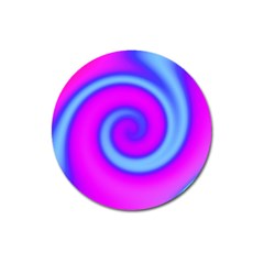 Swirl Pink Turquoise Abstract Magnet 3  (round) by BrightVibesDesign