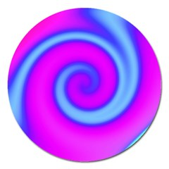 Swirl Pink Turquoise Abstract Magnet 5  (round) by BrightVibesDesign