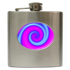 Swirl Pink Turquoise Abstract Hip Flask (6 Oz) by BrightVibesDesign