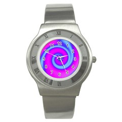 Swirl Pink Turquoise Abstract Stainless Steel Watch