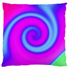 Swirl Pink Turquoise Abstract Large Flano Cushion Case (two Sides) by BrightVibesDesign