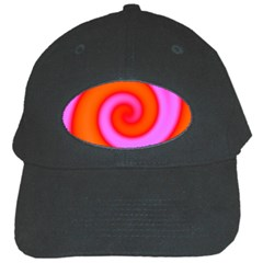 Swirl Orange Pink Abstract Black Cap by BrightVibesDesign