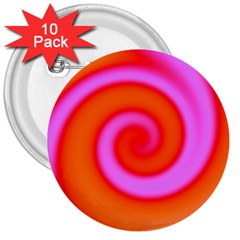 Swirl Orange Pink Abstract 3  Buttons (10 Pack)  by BrightVibesDesign
