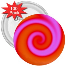 Swirl Orange Pink Abstract 3  Buttons (100 Pack)  by BrightVibesDesign