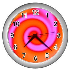 Swirl Orange Pink Abstract Wall Clocks (silver)  by BrightVibesDesign