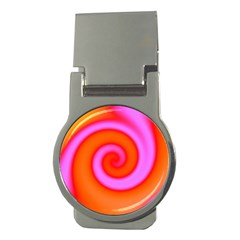 Swirl Orange Pink Abstract Money Clips (round)  by BrightVibesDesign