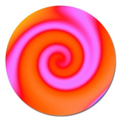 Swirl Orange Pink Abstract Magnet 5  (round) by BrightVibesDesign