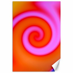 Swirl Orange Pink Abstract Canvas 12  X 18   by BrightVibesDesign