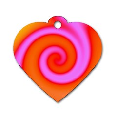 Swirl Orange Pink Abstract Dog Tag Heart (one Side) by BrightVibesDesign