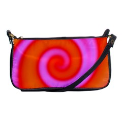 Swirl Orange Pink Abstract Shoulder Clutch Bags by BrightVibesDesign